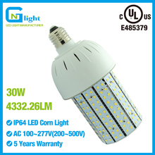 LED Corn cob 30watt E26 medium base replace 100W HPS warehouse factory light bulbs 110V 120V 240V 277V 4332Lm