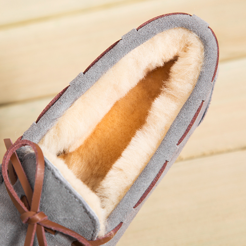 SWYIVY Woman Flats Loafers Pear Shoes Wool Winter 2018 Genuine Leather Female Snow Shoes Bow Fur Slip On Cotton Padded 43 Size