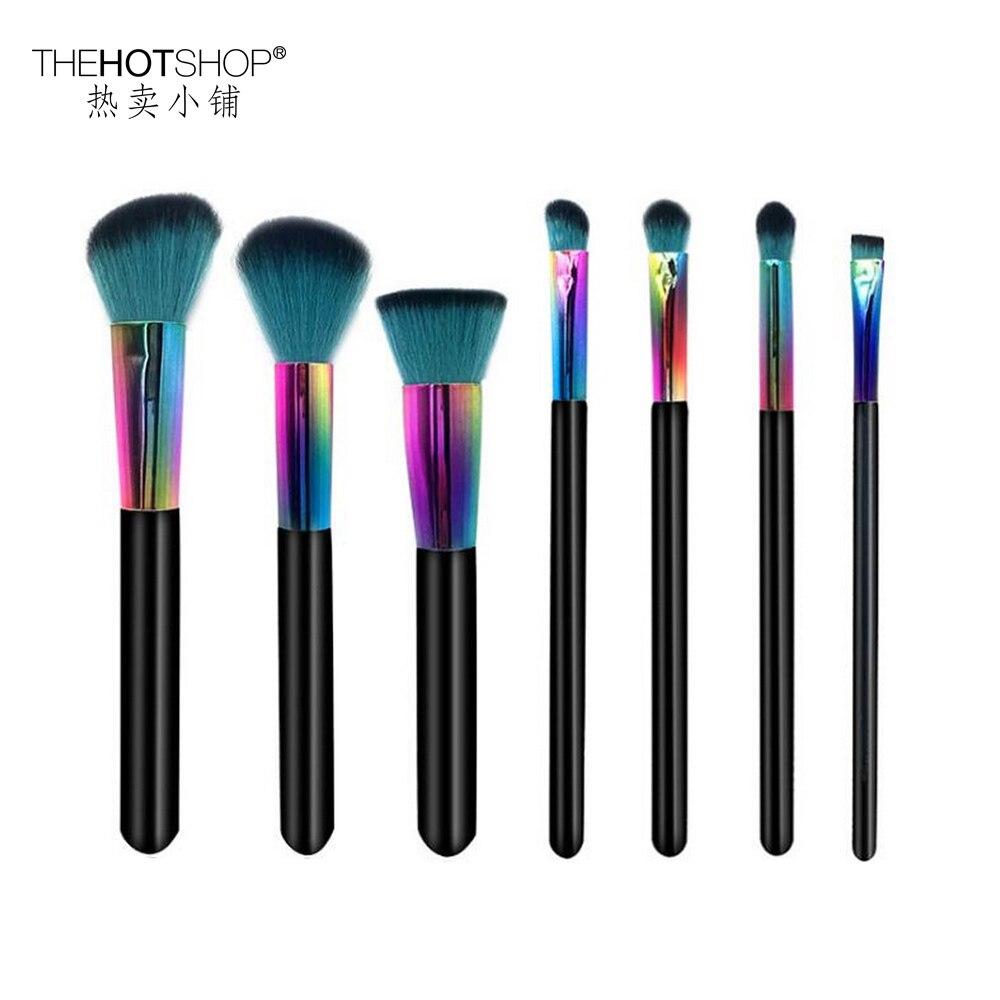 2017 New Brand 7pcs colourful makeup brush professional real wood imported fiber wool powder  blush eyeshadow brushes makeup set<br>