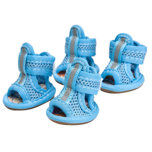 New Hot Pet Dog Puppy Water Repellent Anti-Slip Protective Boots Shoes Breathable Mesh Sandals blue XS(China)