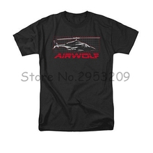 Airwolf helicopter TV Show Grid T-Shirt LMen Black Leisure Round neck Cotton T Shirt free shipping