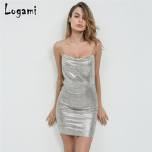 Buy LOGAMI Sleeveless Backless Bandage Dress 2018 Summer Sexy Mini Club Party Ladies Bodycon Dress Chain Womens Clothing for $10.70 in AliExpress store