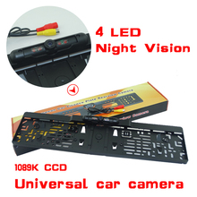 2016 New Arrival EU Russia Car License Plate Frame Rear View Camera For European Cars With 4 IR Light + Waterproof IP69K