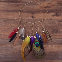 2017 Rushed Real Women Indian Hippie Bohemian National Wind Flow Su Fasheng Wooden Bead Hair Jewelry Peacock Feather Headband