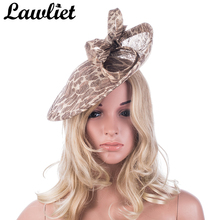 "Sinamay Fascinators Hats 12"" Khaki Leopard Saucer Bow Women Sinamay Hats for Wedding Race Party Kentucky Derby Ladies Headbands(China)"