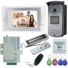7inch Wired TFT Color Video Door Phone Intercom Entry System with RFID Outdoor Access Camera+Electric Magnetic Lock +12V Power