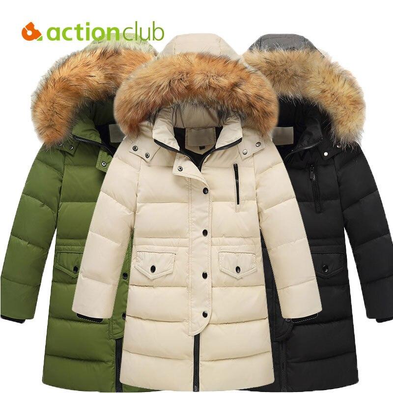 Actionclub Winter Down Jacket With Fur For Kids Baby Boys Girls Long Sleeves Children Outwear Pure Color Thick Cotton Coat  Îäåæäà è àêñåññóàðû<br><br>