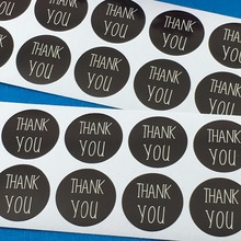 300PCS/Lot 3cm Diameter Black Paper Thank You Sticker Labels Self-adhesive Labels DIY Hand Made For Cards/Jewelry/Box/Gift/Bake