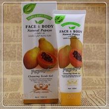 Papaya cleansing the scrub gel & remove blackheads   face cleaner    100 ml  free  shipping D12