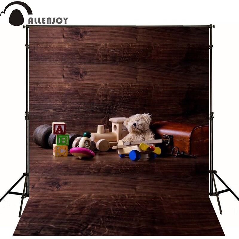 Allenjoy Photographic background Wood log walls bear toys blocks newborn vinyl backdrops  photography lovely princess wall floor<br><br>Aliexpress