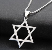 Trendy Silver tone Stainless Steel Jewish Star of David Charm Pendant Necklace With 50cm Chain For Men Women Wholesale Jewelry(China)