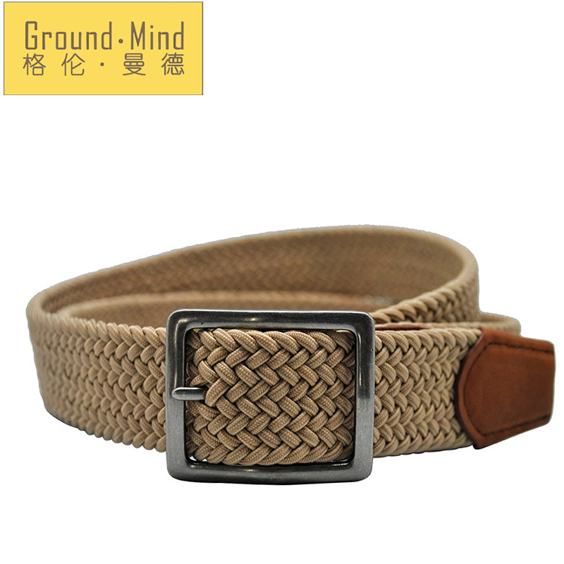 New elastic braided men belts woven strap genuine leather tip & head classic design casual style for jeans(Brown)(China (Mainland))
