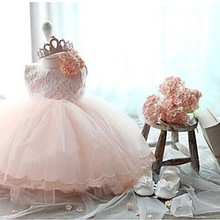 Elegant Girl Dress Girls 2017 Summer Fashion Pink Lace Big Bow Party Tulle Flower Princess Wedding Dresses Baby Girl dress,0-2Y