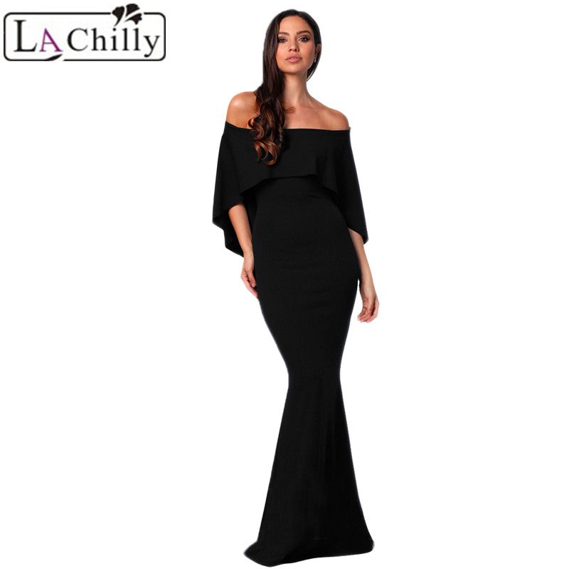 Black-Off-Shoulder-Poncho-Gown-Mermaid-Dress-LC610235-2-28119
