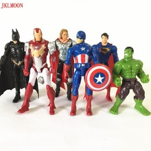 6Pcs/Lot The Avengers figures super hero toy doll baby hulk Captain America superman batman thor Iron man