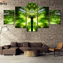 Fashion 2015 New Green Bamboo canvas paitning HD Image Landscape Picture wall Painting home decoration For restaurant F064
