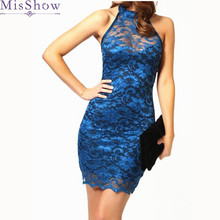 Buy Womens Elegant Wedding Party Sexy Night Club Halter Neck Sleeveless Sheath Bodycon Lace Dress Short Blue Shoulder