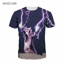 MASCUBE 3D Flash Cat Design Animal Pattern Print T Shirts Cotton Men Summer 2017 Cool Funny Short Sleeves O Neck Casual T-Shirt
