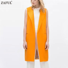 ZAFUL Fashion Orange Long Vest Woman Sleeveless Lapel Collar Pocket Open Stitch Casual Winter Plus Size Long Waistcoat Vest