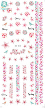 Rocooart DS010 Water Transfer Foils Nail Art Sticker Harajuku Colorful Flowers Element Nail Wraps Decals Manicure Decor Styling