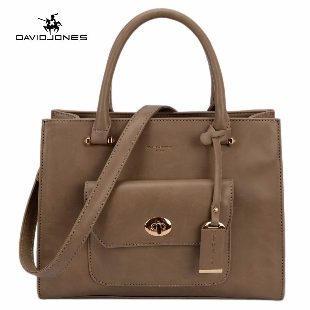 DAVIDJONES Women PU Totes bag Femal vintage shoulderbag casual crossbody<br>