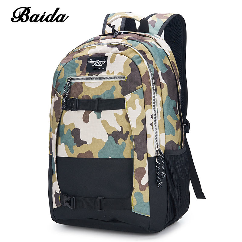 DAIDA Mens Casual Daypacks Men Cool Laptop Bag Canvas Backpack Camouflage School Bags For Boy Unisex Skateboard Travel Bags <br>