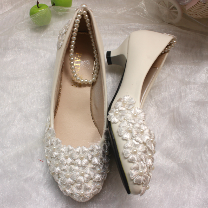 Ivory wedding shoes office shoes /bridesmaid/bridal/PARTY.proms evening parties/dance pumps small low heel shoe for woman<br>