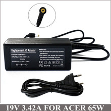 19V 3.42A 65W Laptop AC Adapter Charger For Cadernos Acer Aspire 3680 4520 5315 5515 5517 5520 5530 5532 5720 D255E D260 KAV60