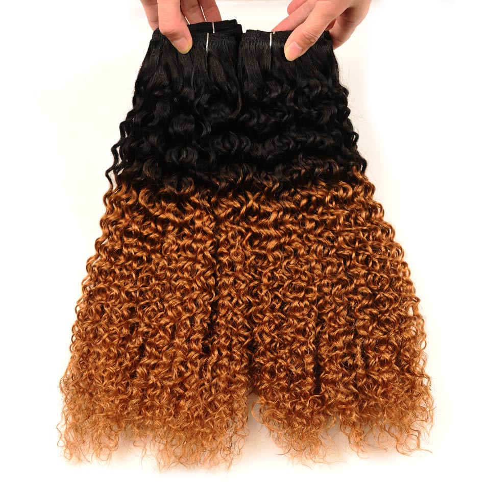 Pinshair Ombre Kinky Curly Hair Weave 4 Bundles 1B 30 Indian Kinky Curly 100 Human Hair Weaving Non Remy Non Remy Hair Extension (91)