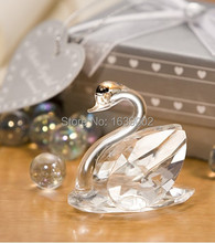 Cute Crystal Swan Favors Crystal Wedding party supplies wedding shower gifts Free Shipping 20 sets(China)