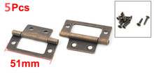 Household Furniture Metal Closet Window Wardrobe Door Hinge Bronze Tone 51 x 24mm 5pcs