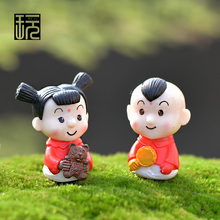 Cartoon Doll a Couple of Baby New Year Children Action & Toy Figures Fairy Garden Miniatures Mini Garden Decoration Home Decor