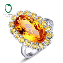 Unplated 18k White Gold 6.55ct Oval Flawless IF Citrine 0.82ct Yellow Sapphires Engagement Ring(China)