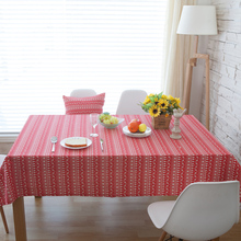 Hot Red Christmas Tree Elk Deer Printed Striped Cotton Linen Rectangle Tablecloth Tea Table Cloth Cover Kitchen Party Decor 2017