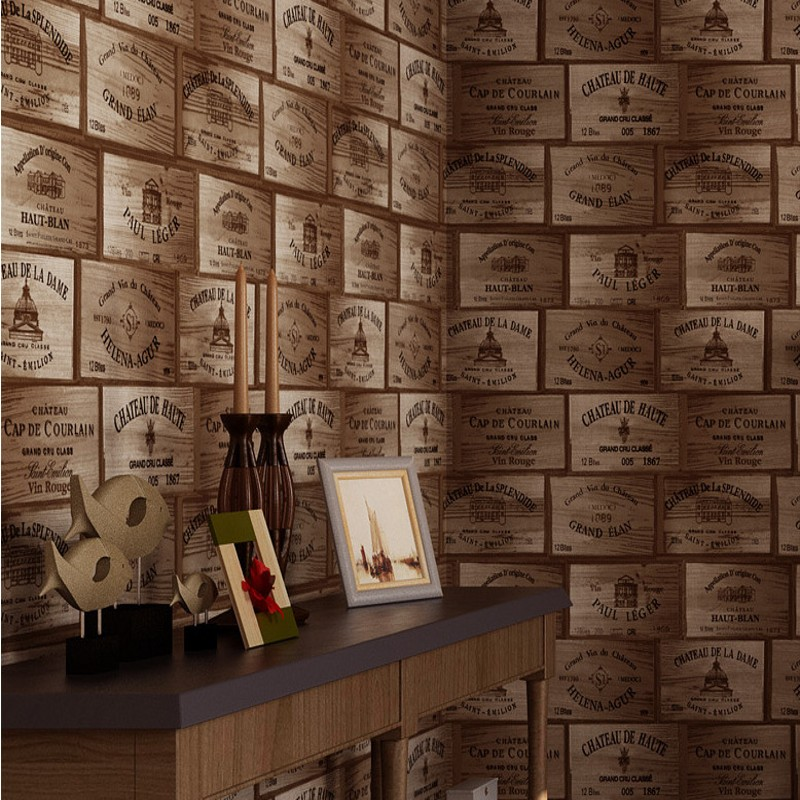 Free Shipping Modern American personality wood wallpaper old wooden box industrial wind Nordic clothing store winery wallpaper<br>