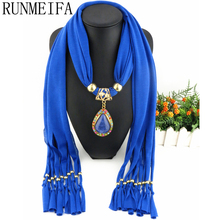 [RUNMEIFA]  Bufandas Mujer 2017 New Arrival Charms Scarves Foulard Women Pendant Scarf Necklace 6 Solid Colors