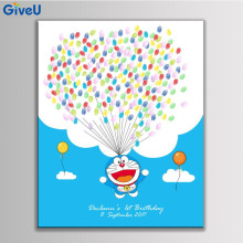 GiveU DIY Customized Kids Birthday Party Fingerprint Canvas Painting Doraemon Guest Book Signature Tree 2 box inkpad