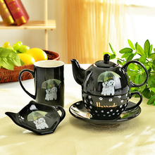 Dog lovers tea set British cute puppy pattern mugs pot suit cafes/small restaurants and leisure lunch coffee set free shipping