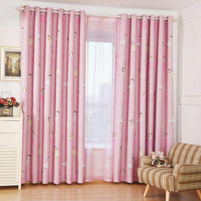 Children's Curtains Pink Princess Girl Cartoon Curtains Children's Living Room Bedroom Window Cortinas Custom Blackout Curtains