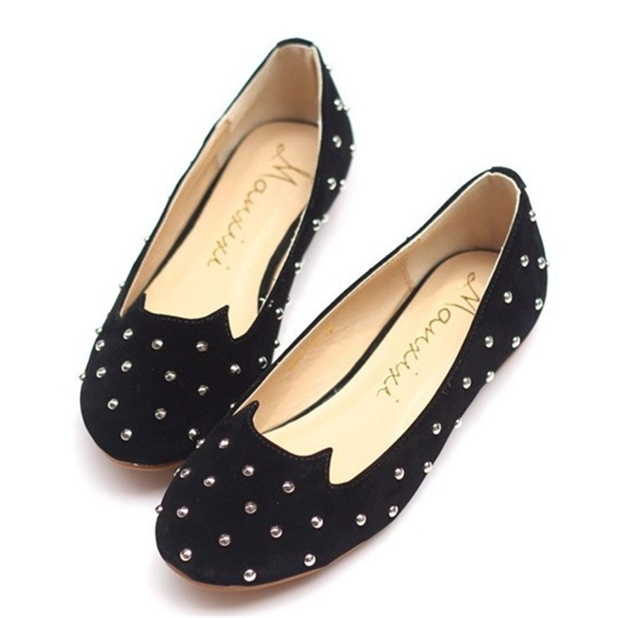 Hot Star Shoes 2017 New Black Brand Female Flat Shoes Women Fashion Cats rivet Flats Suede PU Plus size Casual Shoes Woman<br><br>Aliexpress