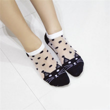 LIEBE ENGEL Summer Low Cut Invisible Ankle Socks Cute Cat Transparent Crystal Silk Elastic Short Boat Socks Women Girls(China)