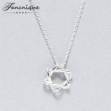 100% 925 Sterling Silver Jewelry Hexagram Hollow 3D Star of David Pendant Necklace Women(China)