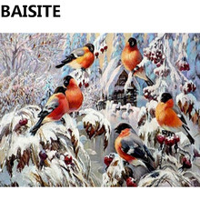 BAISITE Framed DIY Oil Painting By Numbers Painting&Calligraphy Of Birds And Flowers Modern Picture Home Decor E852 40x50cm