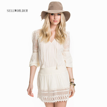SELLWORLDER 2017 Women Fashion Embroidery Lace one piece Dress Female V-neck Cute Countryside Style