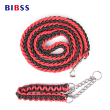 Red Blue Rereactable Large Pet Dog Leash Handle Metal Chain Cat Dog Collar for Small Big Dog Pet Puppy Outdoor Safety Belts