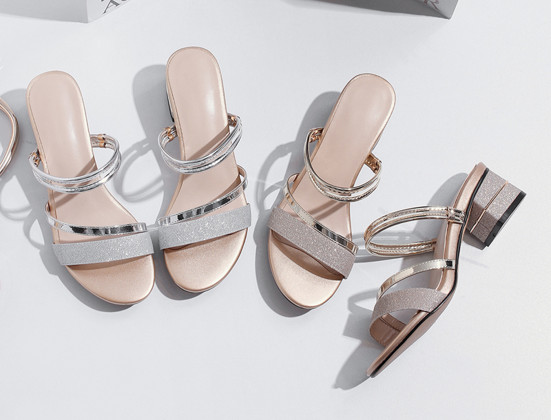 Meotina Brand 2018 Summer Sandals Women Block Heels Slippers Peep Toe High Heels  Female Party Shoes Gold Hot Sale Big Size 33-43 4a0646752a19
