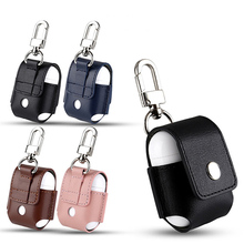 for Airpods case Portable PU Leather Case Protective Carrying Cover for Airpods Anti Lost Storage Pouch Bag for Apple Airpods