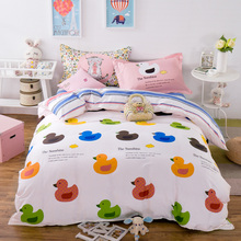 "Small Duck 100% cotton 4 Pce 78""x90"" Duvet Doona Cover Set by stripes flat sheet pillowcase/kids children bedding QUEEN(China)"