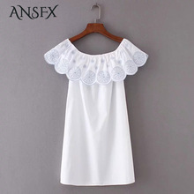 ANSFX Cute Ruffles Floral Pattern Embroidery Elastic Slash Neck Pullover Straight Ethnic Women White Slim Dress 2017 Summer