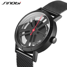 SINOBI Cool Black Mens Watches Top Brand Luxury Steel Quartz Watch Unique Wheel Dial Creative Male Watches 2018 Reloj Hombre(China)
